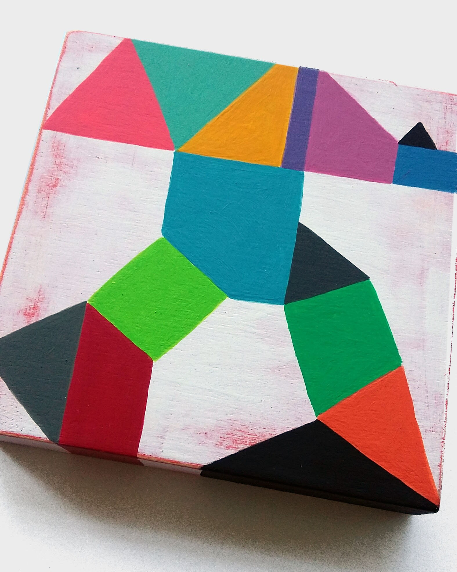 Composition_001, hard edge painting on wood canvas - product images  of