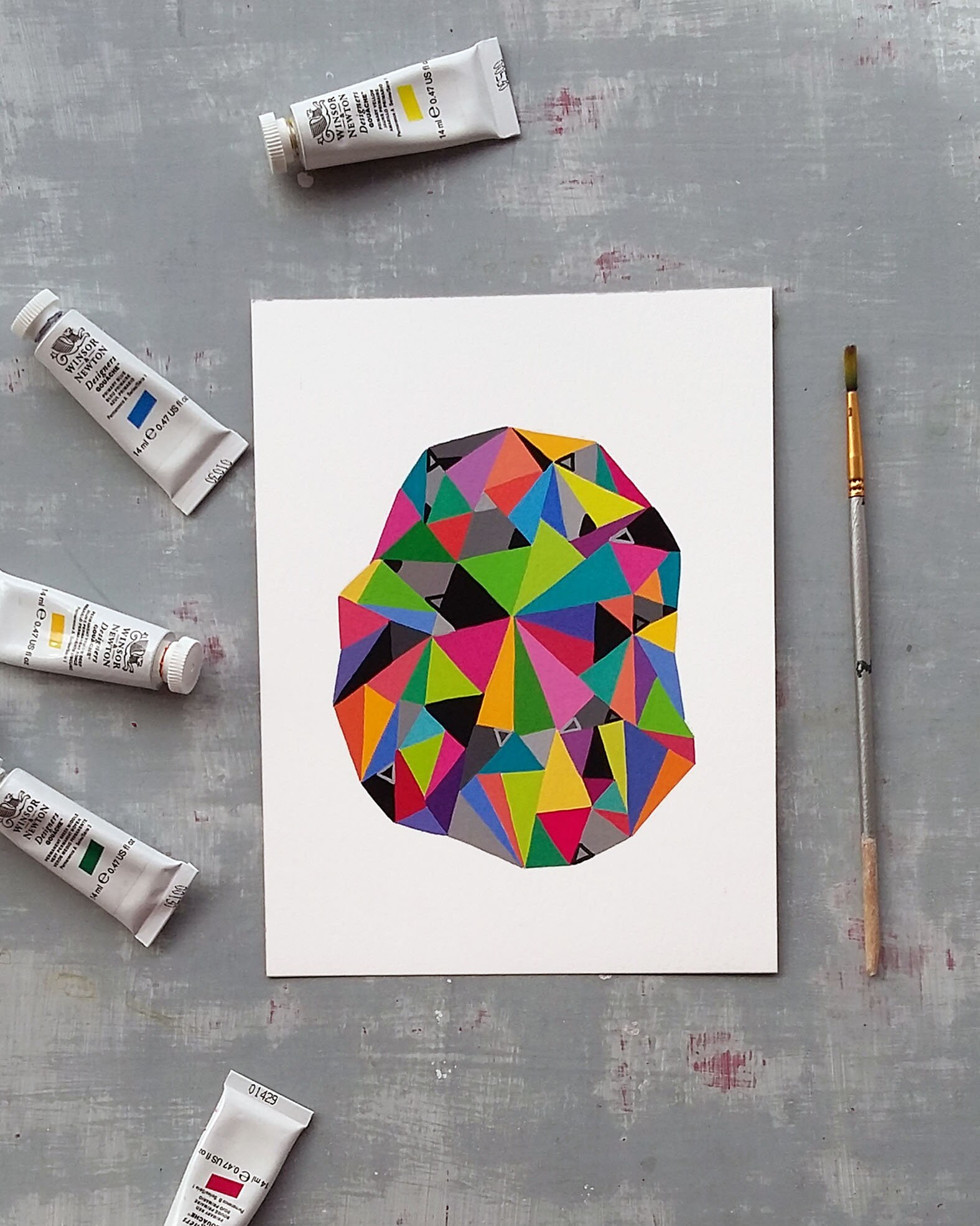 Shape_002, original geometric painting on paper - product image