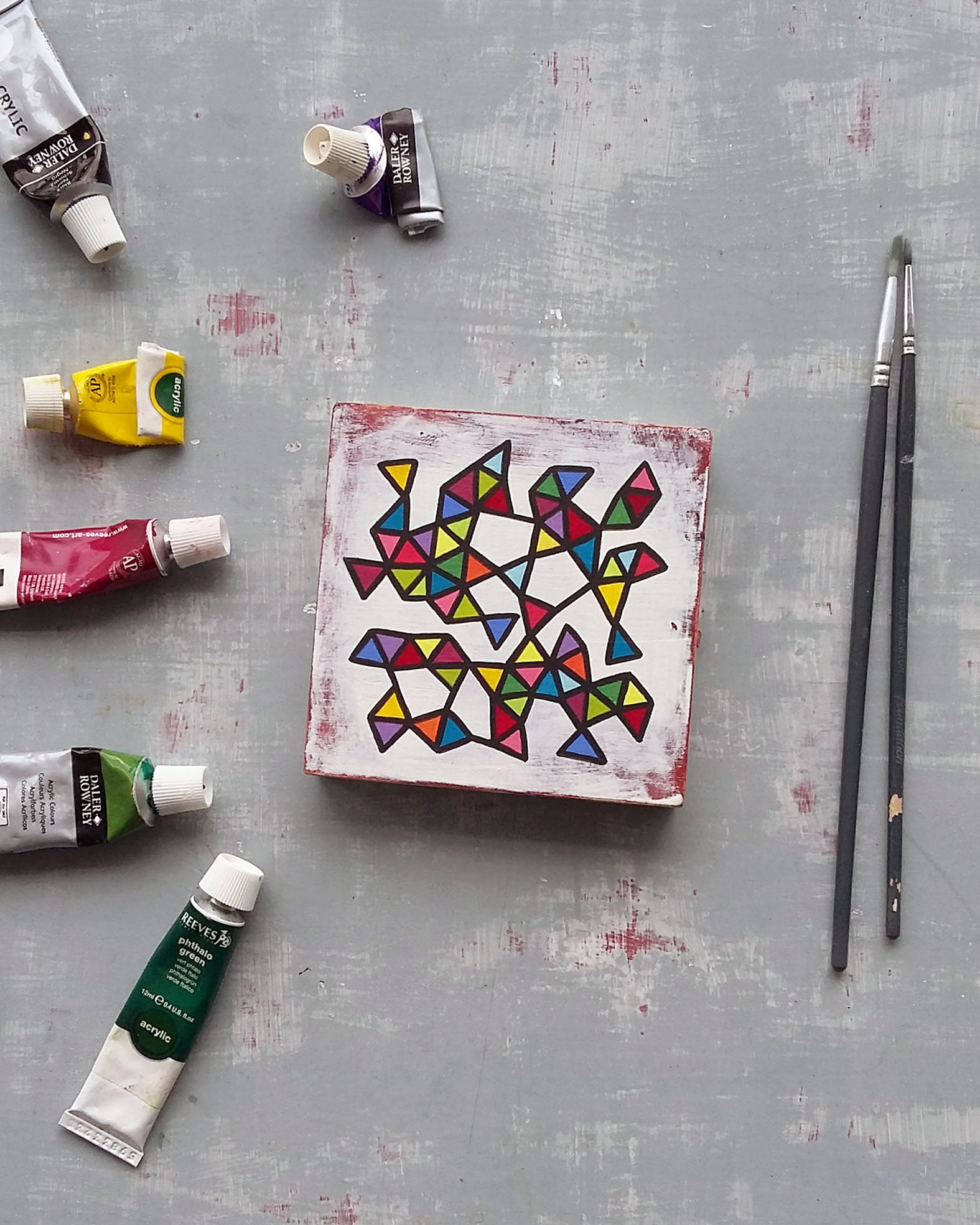 Slice_003, small abstract geometric painting - product image