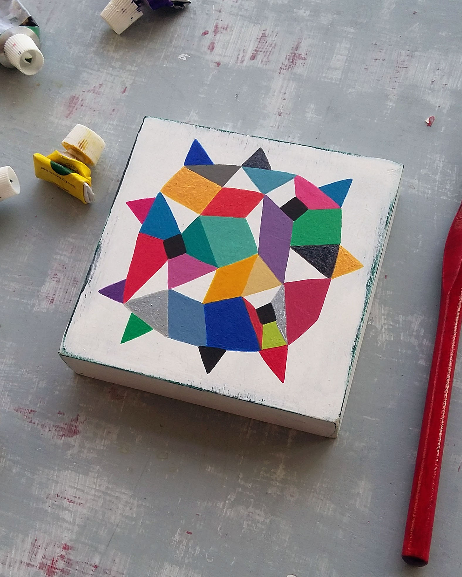 Star_003, hard edge abstract painting on wood - product images  of