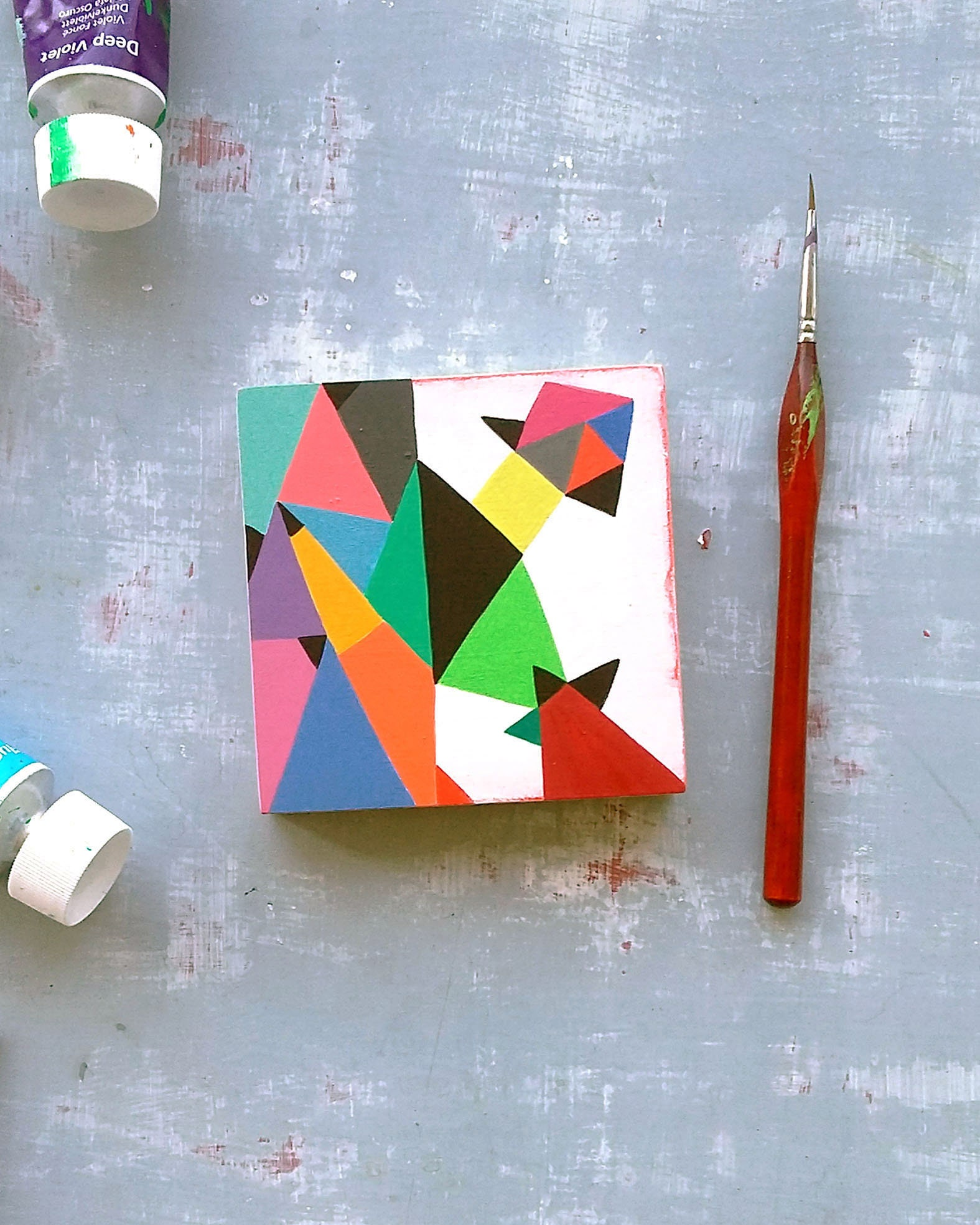 Composition_002, small abstract painting on wood - product image