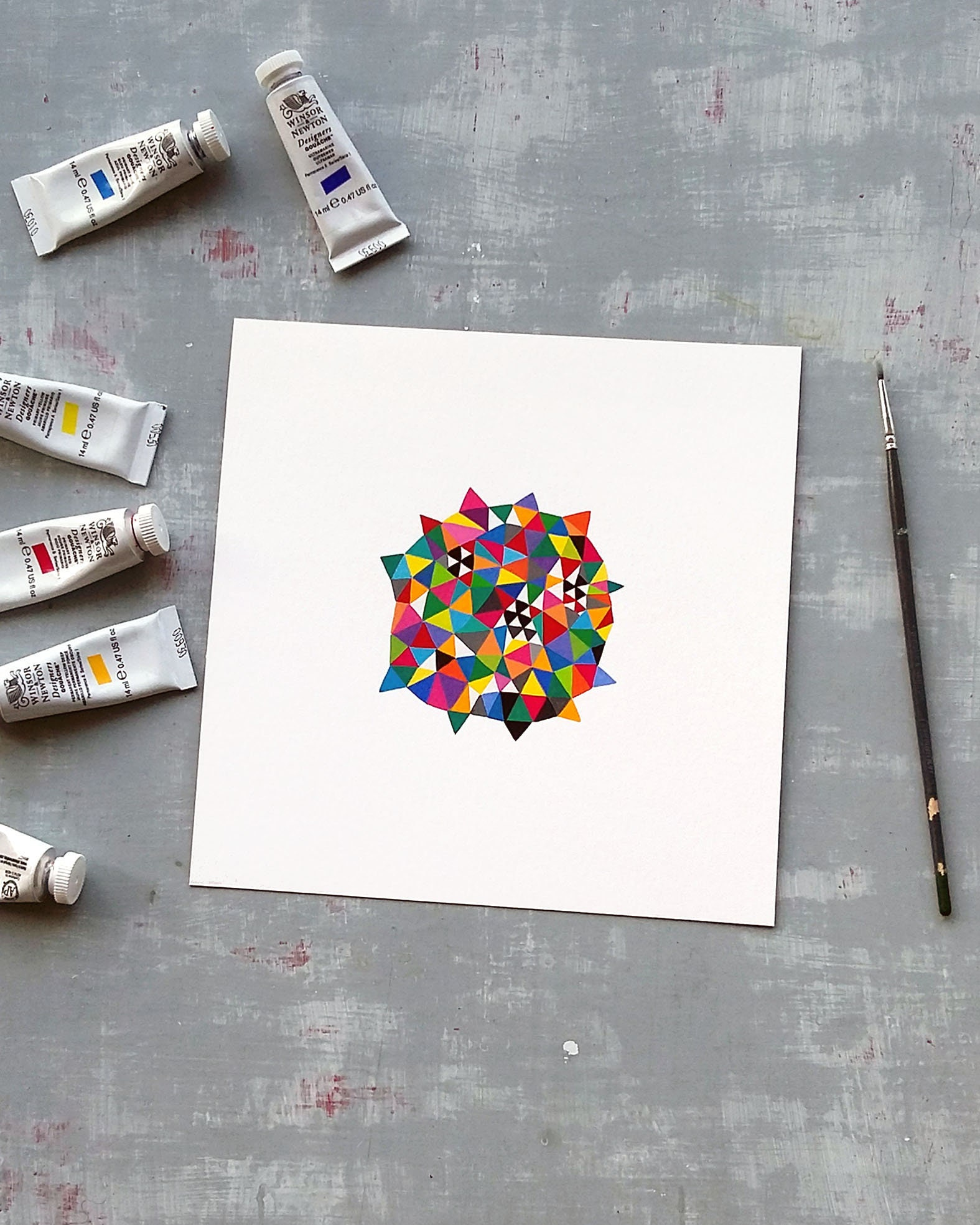 Germ_001, colourful geometric art on paper - product image