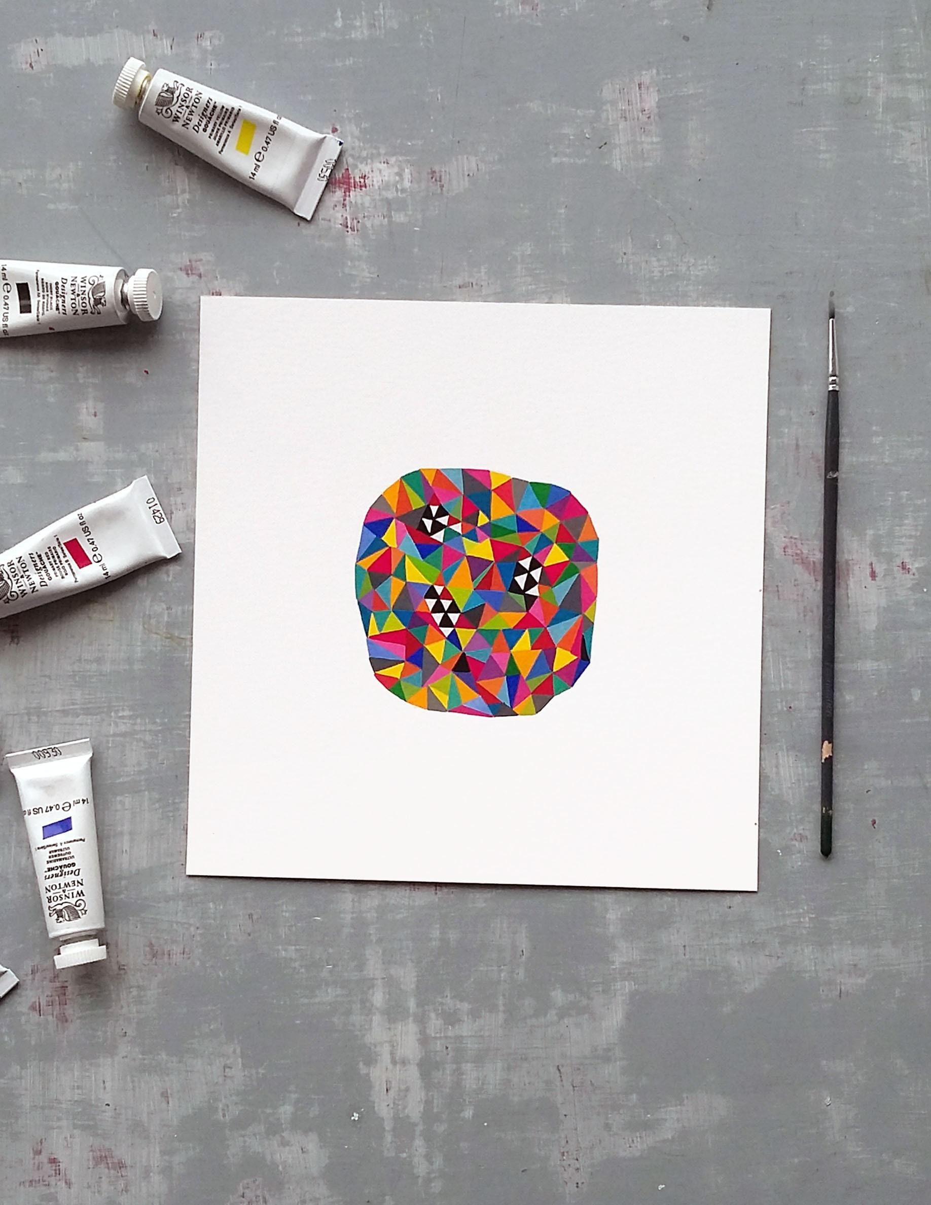 Bug_001, small geometric gouache painting on paper - product image