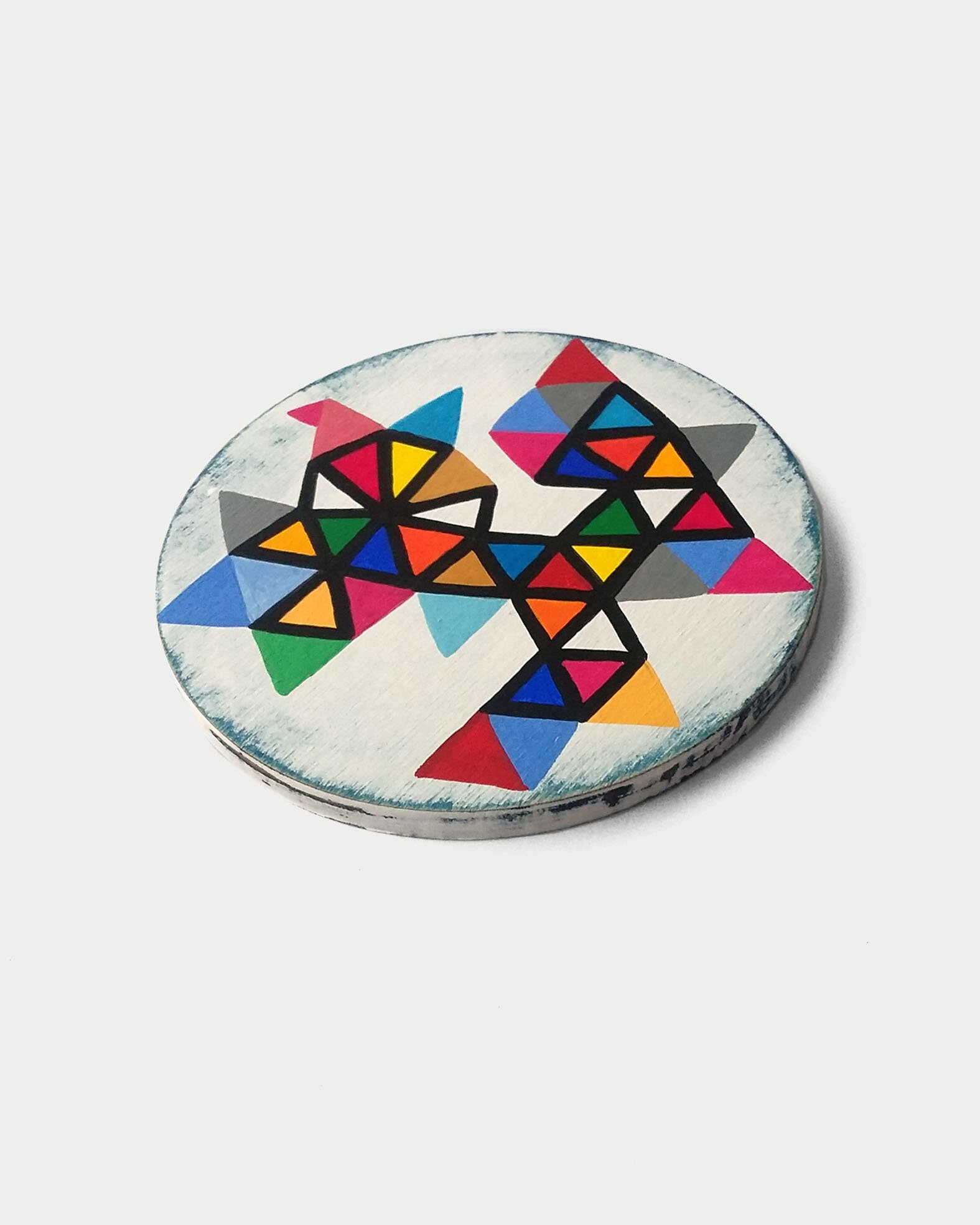 Triangles_001, geometrical miniature round painting - product images  of