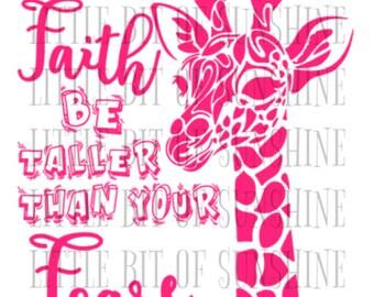 30 oz Faith Taller Than Fear Giraffe