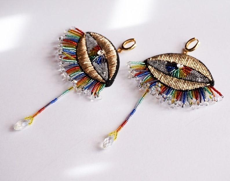 Beaded brush earrings Gold embroidery earrings Rainbow evil eye earrings Long large drop earrings