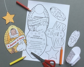 Nativity Christmas decoration + colouring page