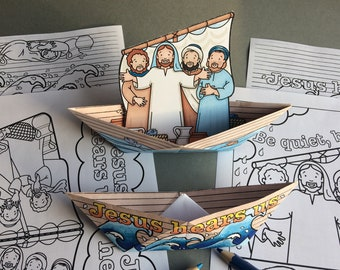 Jesus Calms The Storm - two folded paper boats / mobile and colouring page based on the Bible story in Mark 4: 35-41