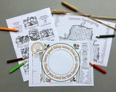 Harvest Thanksgiving colour and puzzle placemat with harvest puzzle colouring page and harvest wordsearch.