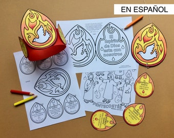 Pentecostés El Spíritu Santo en Español - Hechos 2 / Pentecost Holy Spirit colour and make mobile and headband with colouring page - Acts 2