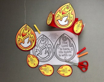 Pentecost Holy Spirit colour and make mobile and headband with colouring page. Based on the Bible story from Acts 2