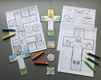 Easter Cross mobile / bookmark with colouring page and word search