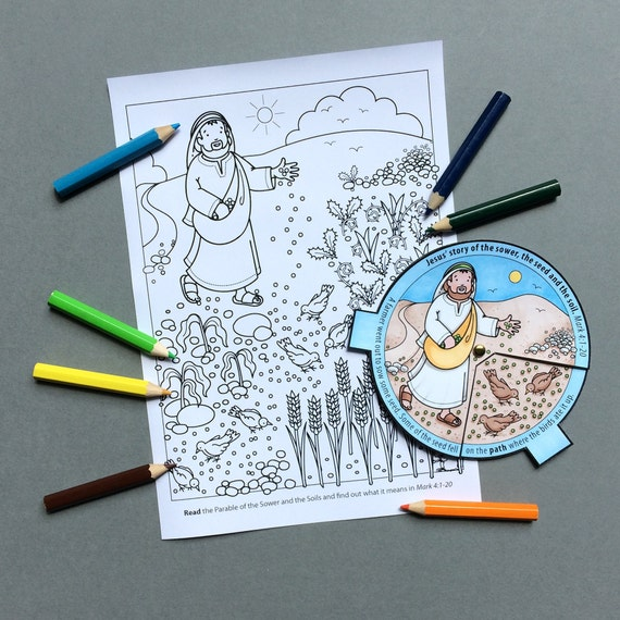 The Parable of the Sower and the Soils colour in story wheel + colouring  page and word search, based on the Bible story from Mark 4:1-20