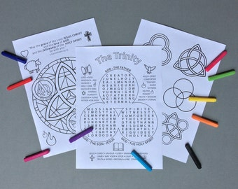 The Holy Trinity - colouring pages and wordsearch