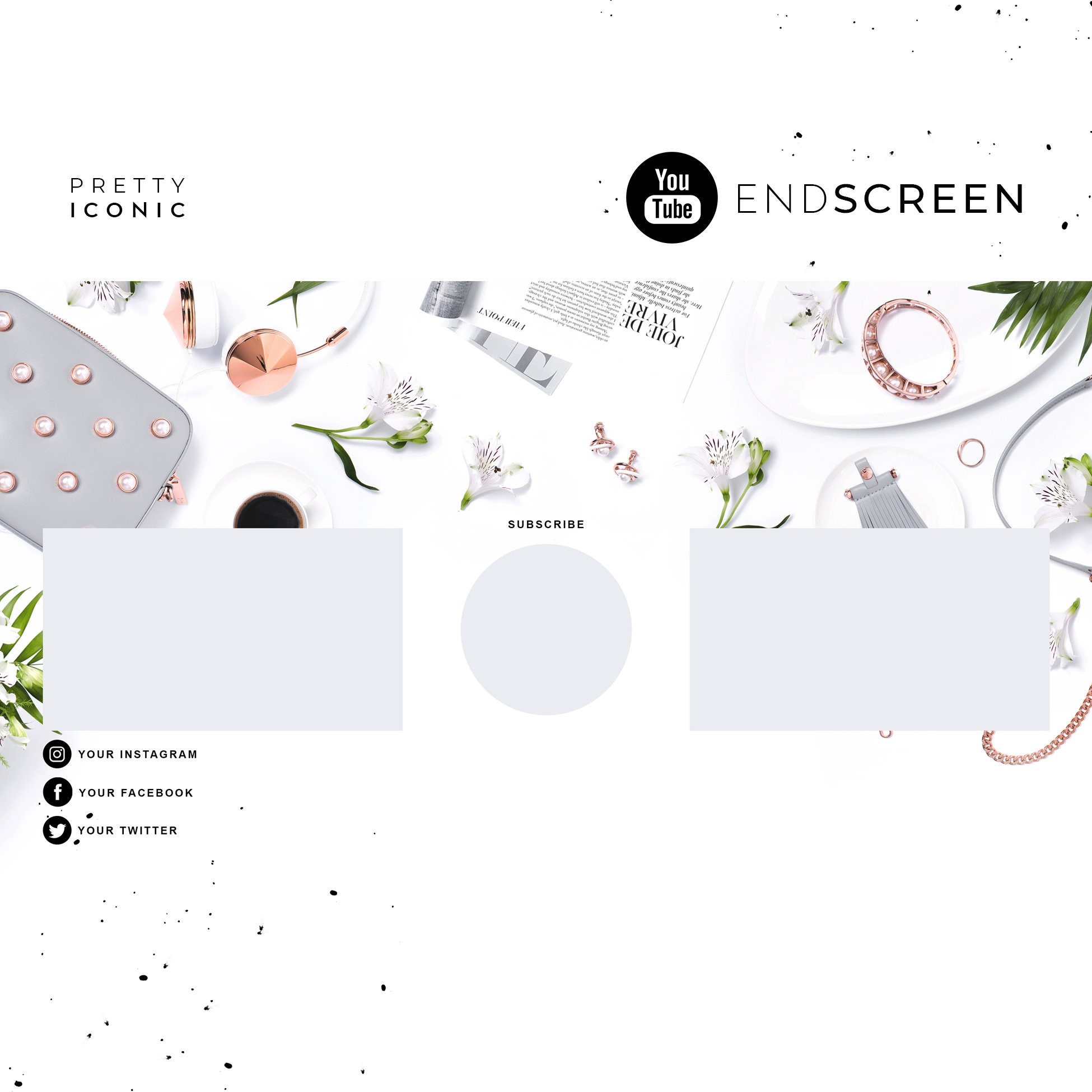 Rose Gold YouTube End Screen, Green YouTube Channel Art, Pearls You Tube  Video Outro, YouTube Vlogger Branding, YouTube Template