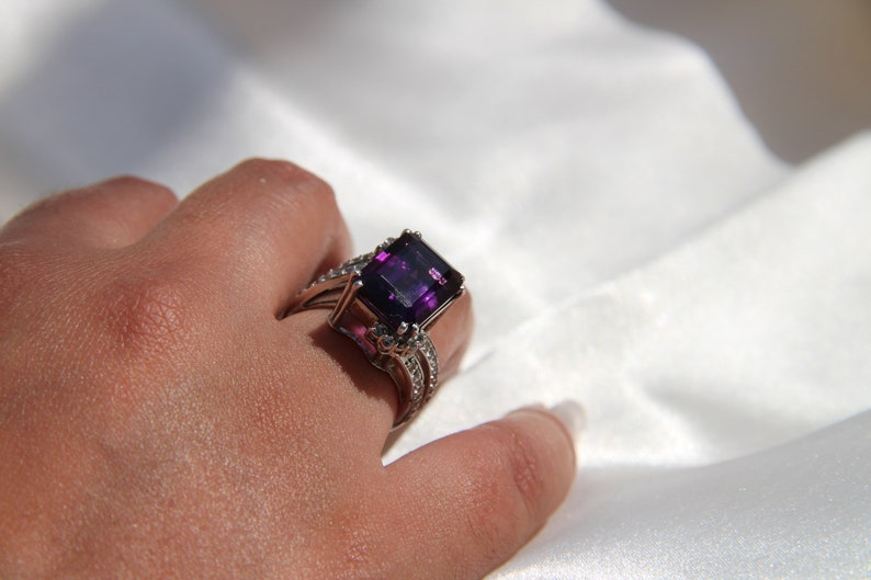 statement ring wedding ring birthstone ring engagement ring sterling silver ring wedding ring gemstone ring PURPLE AMETHYST RING