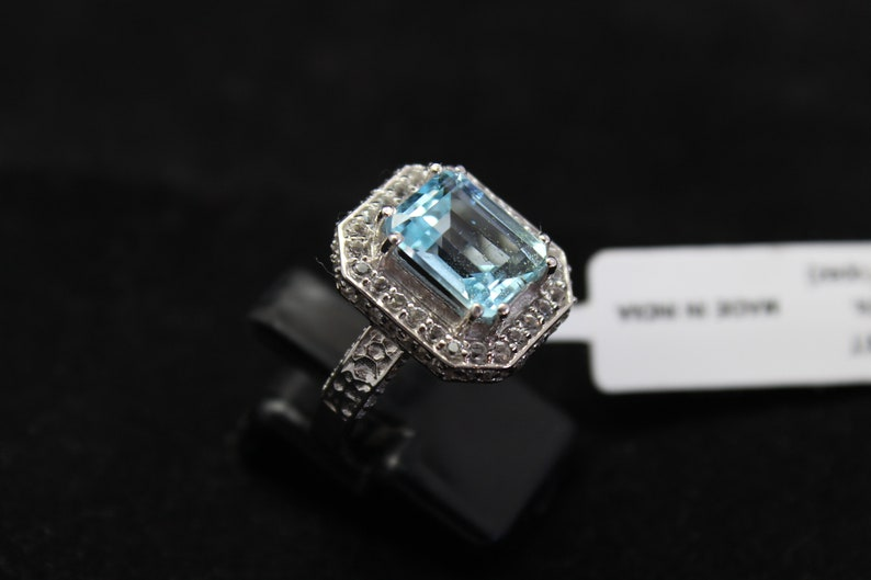 Rectangle blue topaz statement big wedding engagement ringcocktail ringsilver 925 handmadestudded with white topazAAA high quality ring