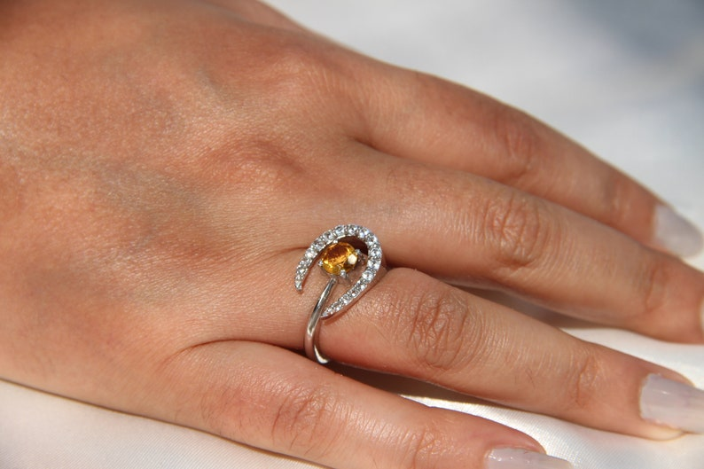promise ring engagement ring cut promise ring CITRINE MOON RING sterling silver ring silver rings boho ring gift for best friend