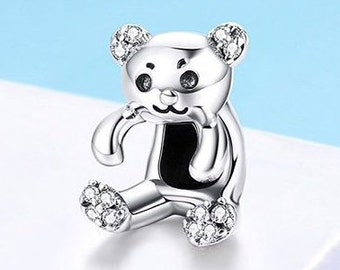 6bd346abb Teddy Bear Bracelet Charm in 925 Sterling Silver - Hallmarked for  Authenticity (Fits Pandora Bracelets)