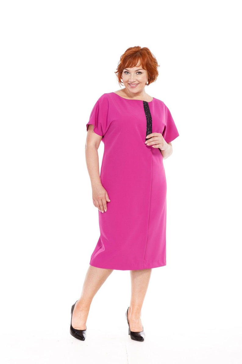 Short sleeve magenta dress 5x Fuchsia mid-calf dress Plus size pink dress  Mother of Bride outfit Designer dress for woman Summer clothes 7x