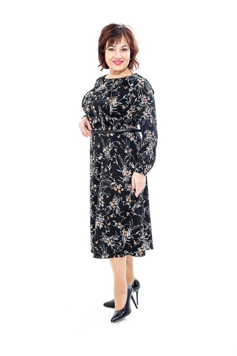 Plus size dresses for women Black women dress Summer Casual clothing  Special occasion dress Long sleeve dress Flower print Long black dress