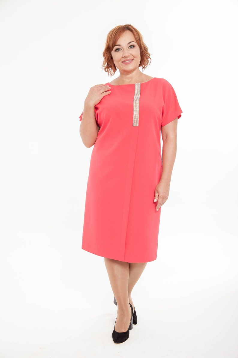 Living Coral dress over the knee Plus size Fashion clothers 5X Woman  valentine dress for special occasion Pink famale dress Mother day gift