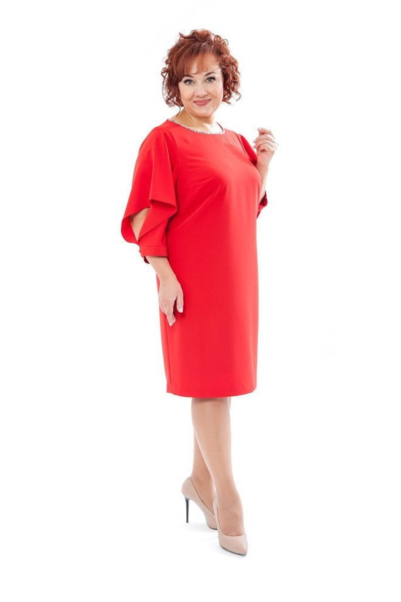 Plus size red party dress Red bridesmaid dress 4x Valentine outfit Midi  dayly dress women New Designer Dress 3/4 sleeve dress Holiday wear