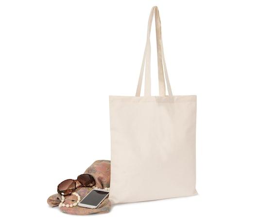 SHOPPER BAG 100/% COTTON ECO FRIENDLY NATURAL SHOPPING TOTE LONG SHOULDER HANDLES