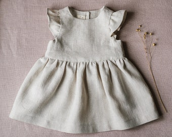 de9fa29a Linen baby dress, linen girl dress, baby vintage, retro outfit, baby girl  clothes, natural clothes, kids clothes, summer dress