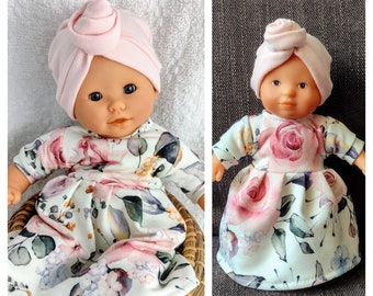 Romantic floral dress with turban hat in pink, 8 9 10 12 13 14 inch doll clothes, 20 to 36 cm dolls