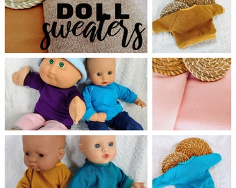 Doll sweater in variety of colors,  doll clothes, 15 16 17 18 inch doll clothes, boy doll clothes, 38 - 46 cm dolls