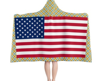 c4eb3bd91aeb19 Hooded Blanket US flag American clothing for patriots 2 sizes: adult and  children