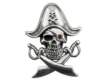 Skull Pirates Caribbean Cross Swords Pendant Disney Cubic zirconia    925 Sterling Silver 5 g Stamped BELDIAMO