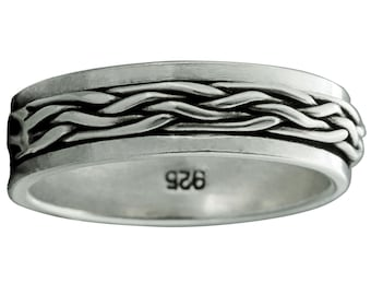 Precious Metal Without Stones Band Twisted Rope Spinner Ring 10-12g 925 Sterling Silver 10mm Braid Beldiamo
