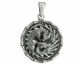 Men/'s Women Adjustable Necklace 925 Sterling Silver 3D Dragon Pendant with Wax Rope DiyNotion NK161