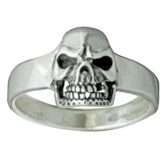 Skull Crossed Bones Gothic Ring 925 Sterling Silver 17 g Stamped BELDIAMO