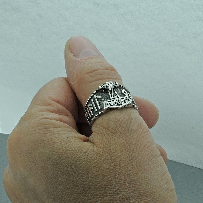 Beldiamo 8.5 925 Sterling Silver Thor/'s Hammer  Rune Mjolnir Ring Viking Gift Jewelry