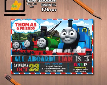 Thomas Train Invitation Birthday Printable Party Invite Free Thank Card Personalized 07