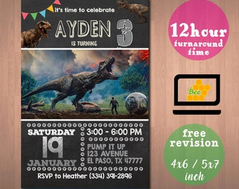 Jurassic Invitation World Invite Birthday Party Park