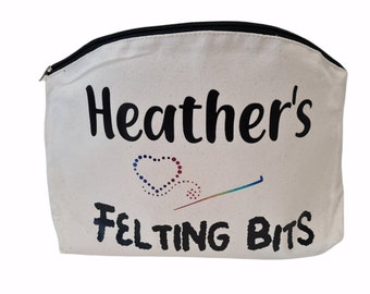 Personalised felting bag, bag for felting bits, felting accessories bag, craft bag, printed felt bag, cute bag, felting project bag
