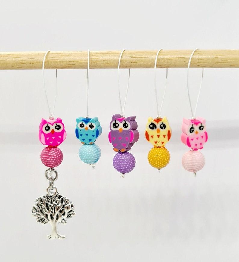 Owl Bead Stitch Markers stitch markers for knitting stitch image 0
