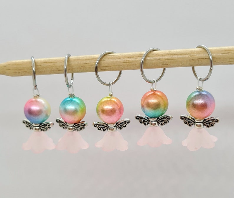 Bead fairy Stitch Markers Bead angel stitch markers for Set of 5