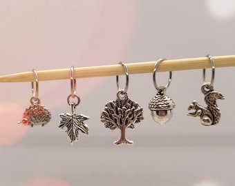 Woodland Stitch Markers, stitch markers for knitting, stitch markers for crochet, place markers, progress keepers, knitting notions
