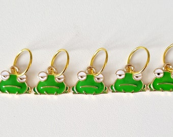 Frog stitch markers, cute frogs, stitch markers for knitting, stitch markers for crochet, notions, end markers, row markers, knitting gift