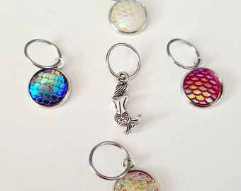Mermaid Tails Stitch Markers, stitch markers for knitting, stitch markers for crochet, pretty stitch markers, knitting notions, fish scales