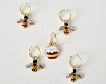 Bees round a Honeypot Stitch Markers, stitch markers for knitting, stitch markers for crochet, end marker, row marker, progress keeper, gift