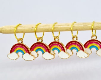 Rainbow Stitch Markers, stitch markers for knitting, stitch markers for crochet, end markers, row markers, place markers, notions