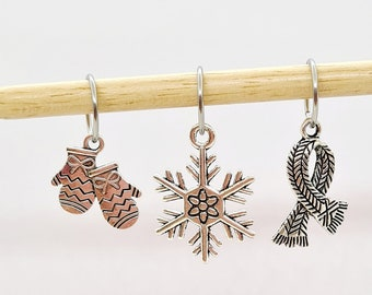 Winter Stitch Markers, mittens, scarf, stitch markers for knitting, stitch markers for crochet, progress keepers, knitting notions, end mark