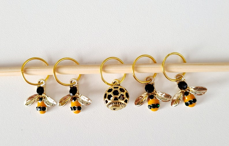 Bee & Hive Stitch Markers stitch markers for knitting stitch image 0