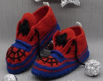 31711cb572e43e Superhero Crochet Sneakers Slippers 44.5EU Knitted Mens Gift for him  Boyfriend Socks Wool Booties